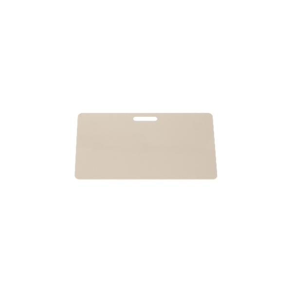 Plastkort hvite med avlangt hull langside
