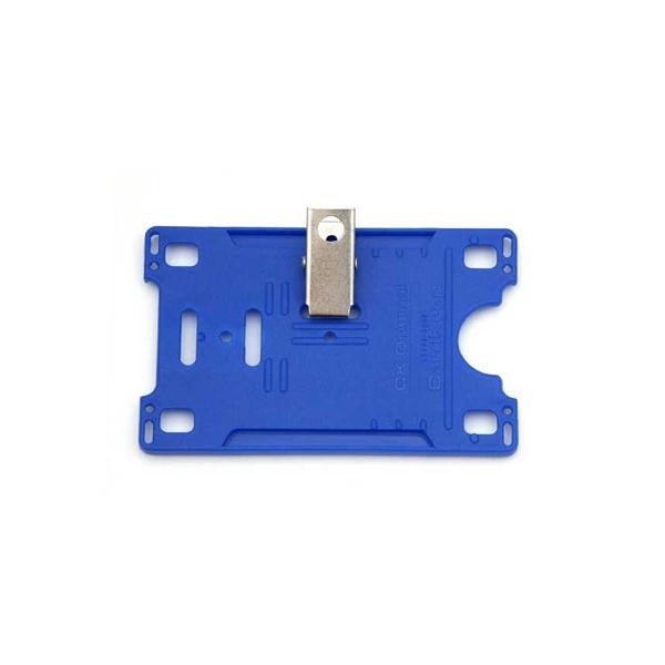 Kortholder Cardkeep blå m/klype, horisontal