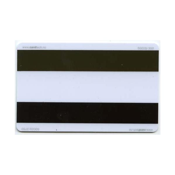 Plastkort hvite med 2x magnetstripe (HiCo2750 x LoCo300)