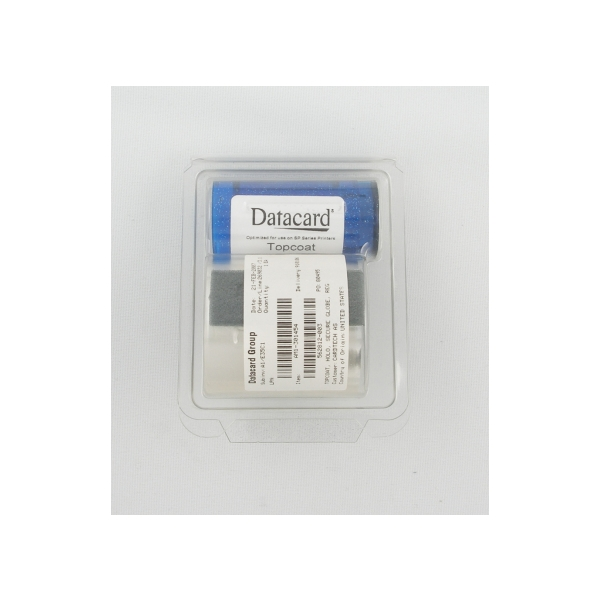 "Fargebånd Datacard SP75 Topcoat,""Secure Globe"""
