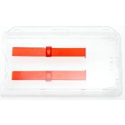 Kortholder Pocket dobbel Transparent Horisontal med 2 x utsk